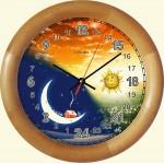 Часы для детей с полным 24 часовым видимым циклом и 12 часовые (пол-суточные).